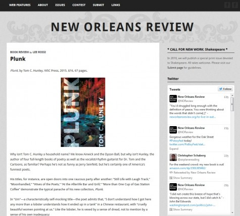 Plunk reviewed by Lee Rossi in New Orleans Review